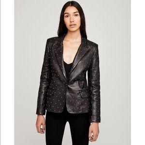 L'AGENCE 🖤 Black Lambskin Leather Studded Blazer